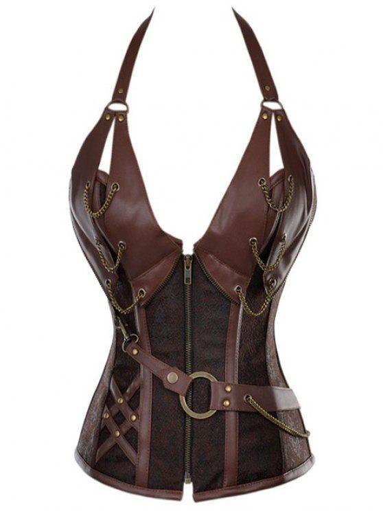 chic Halter Faux Leather Steel Boned Corset - COFFEE M