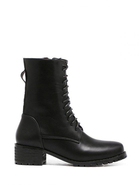 Leder Binden Pu Kurz Stiefel Oben Zipper Black 54LAj3Rq