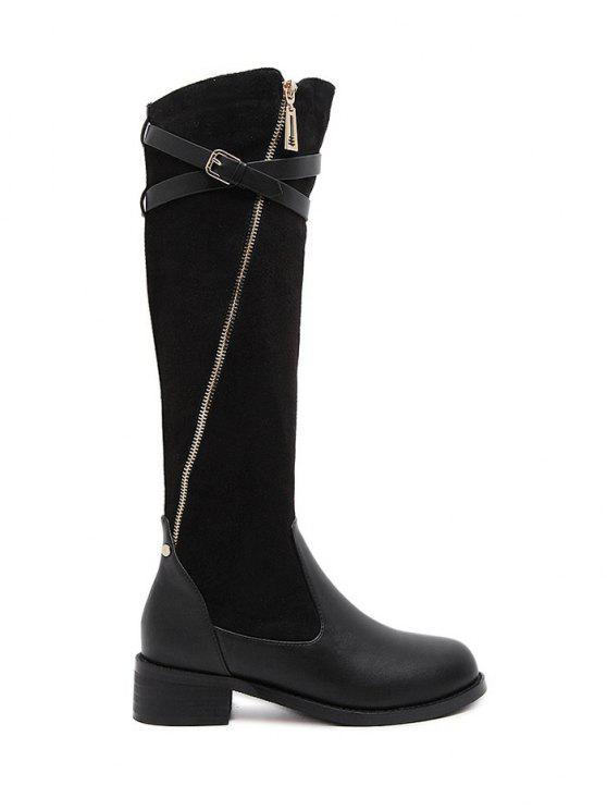 latest Cross Straps Buckle Splicing Boots - BLACK 39