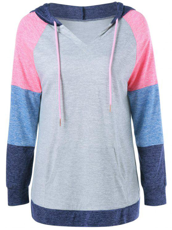 hot Drawstring Patchwork Sleeves Hoodie - COLORMIX XL