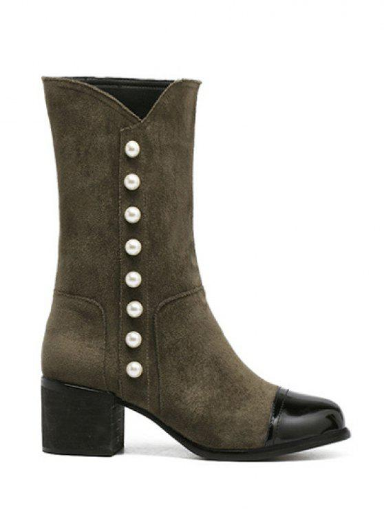 sale Faux Pearls Splicing Flock Mid-Calf Boots - ARMY GREEN 39