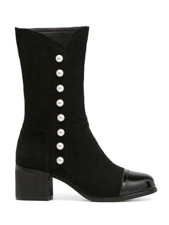 women's Faux Pearls Splicing Flock Mid-Calf Boots - BLACK 38