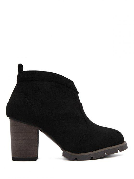 hot Suede Dark Colour Chunky Heel Ankle Boots - BLACK 38