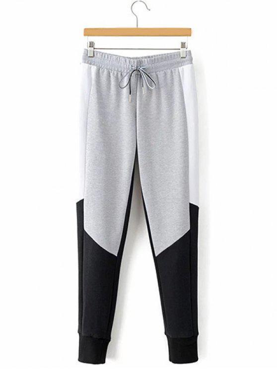 shops Drawstring Color Block Narrow Feet Pants - GRAY S