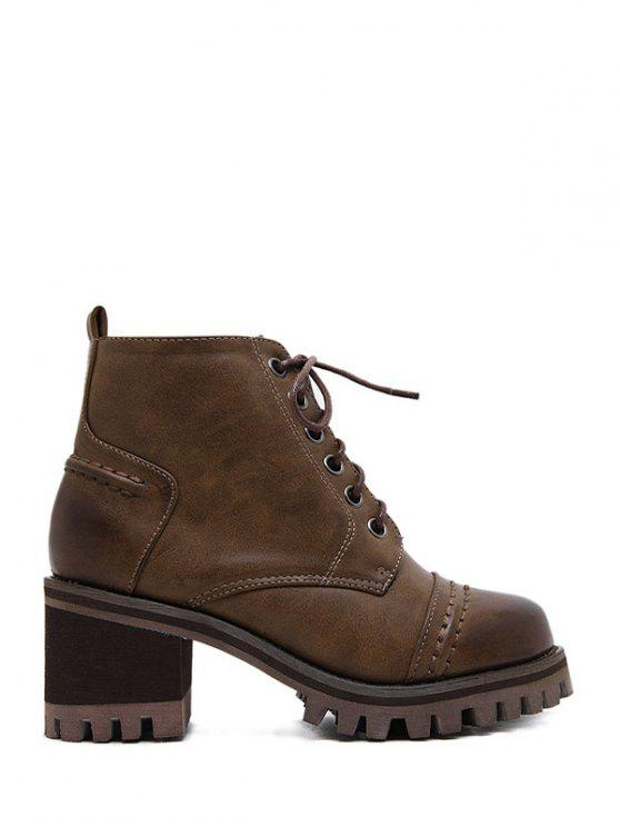 new Chunky Heel Platform Lace-Up Ankle Boots - BROWN 38