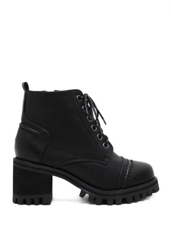 79b05a171e8 38% OFF] 2019 Chunky Heel Platform Lace-Up Ankle Boots In BLACK | ZAFUL