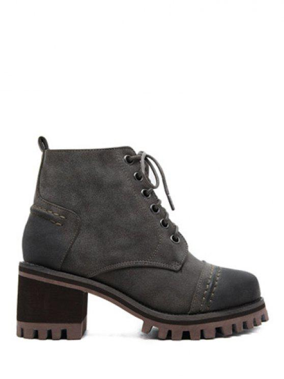 shop Chunky Heel Platform Lace-Up Ankle Boots - GRAY 39
