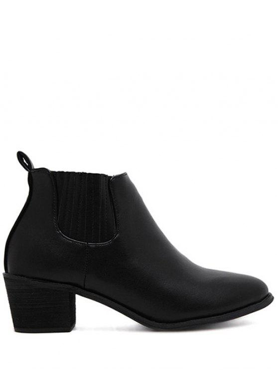 womens Stitching Chunky Heel Pointed Toe Ankle Boots - BLACK 38