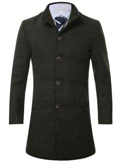 Stand Collar Single Breasted Longline Wool Coat - Army Green M