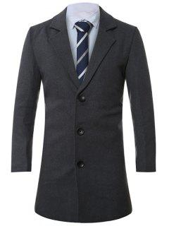 Lapel Single-Breasted Lengthen Wool Coat - Deep Gray 2xl