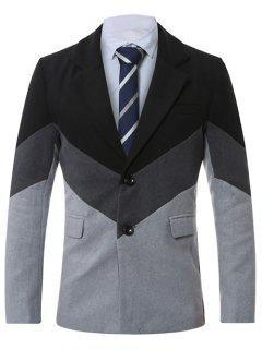 Lapel Single-Breasted Color Block Splicing Wool Coat - Light Gray Xl