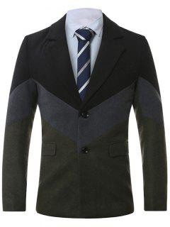 Lapel Single-Breasted Color Block Splicing Wool Coat - Deep Gray 4xl