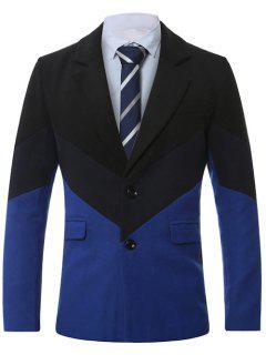 Lapel Single-Breasted Color Block Splicing Wool Coat - Sapphire Blue 4xl