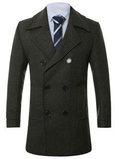Turn-Down Collar Lengthen Double-Breasted Wool Coat - Army Green L