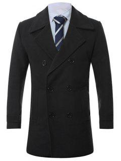 Turn-Down Collar Lengthen Double-Breasted Wool Coat - Black 2xl