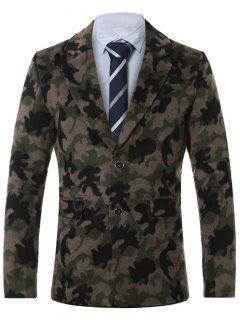Lapel Single-Breasted Camouflage Print Wool Coat - Army Green 4xl