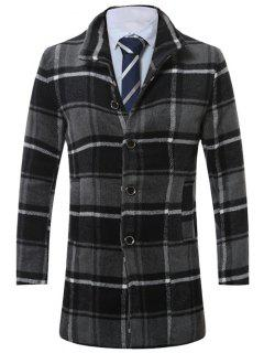 Lapel Single-Breasted Vintage Tartan Wool Coat - Gray 2xl