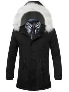 Furry Hood Drawstring Zip Up Padded Coat - Black L