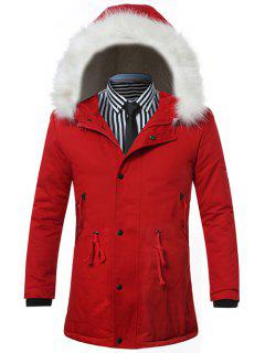 Furry Hood Drawstring Zip Up Padded Coat - Red 2xl