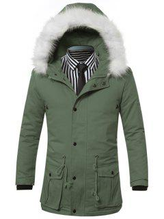 Furry Hood Drawstring Pockets Zip-Up Padded Coat - Green L