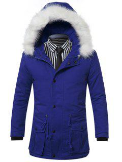 Furry Hood Drawstring Pockets Zip-Up Padded Coat - Blue L