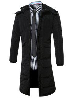 Hooded Lengthen Pockets Zip-Up Down Coat - Black L