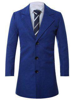 Lapel Single-Breasted Lengthen Wool Coat - Sapphire Blue 2xl