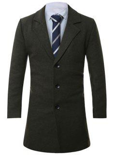 Lapel Single-Breasted Lengthen Wool Coat - Army Green M