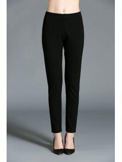Pencil Elastic Waist Pants - Black L