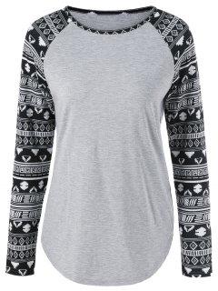 Long Tribal Sleeve T-Shirt - Light Gray L