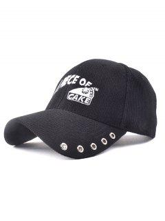 Graphic Embroidery Corduroy Baseball Hat - Black