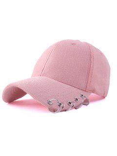 Circle Hoop Corduroy Baseball Hat - Pink