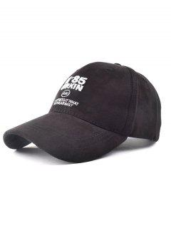 N 85 Embroidery Faux Suede Baseball Hat - Black