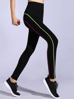 Contrast-Trim Stretchy Gym Leggings - Pink + Green L