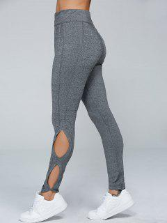 High Waisted Cut Out Leggings - Light Gray S
