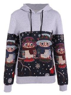 Snowflake Owl Jacquard Christmas Hoodie - Gray M