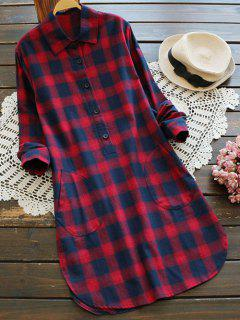 Pockets Plaid Tunic Flannel Shirt Dress - Red M
