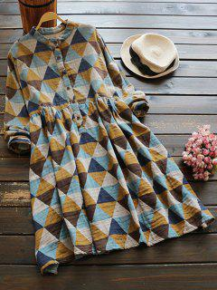 Stand Neck Argyle Dress