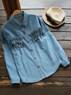 Fringes Denim Shirt - Denim Blue L
