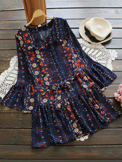 Bell Sleeve V Neck Tiny Floral Dress - Deep Blue