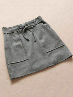 Faux Suded Belted Skirt - Gray M