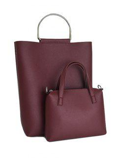 Magnetic Metal Handle PU Leather Tote Bag - Wine Red