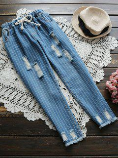 Drawstring Striped Ripped Jeans - Blue S