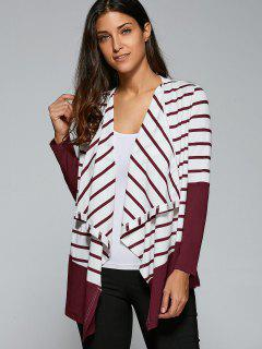 Vertical Striped Asymmetric Cardigan - Stripe M
