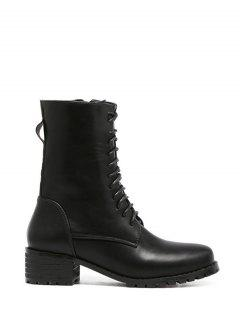 Zipper PU Leather Tie Up Short Boots - Black 38
