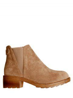 Elastic Band Metal Zipper Ankle Boots - Light Brown 37