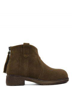 Zipper Dark Colour Suede Ankle Boots - Dark Coffee 38
