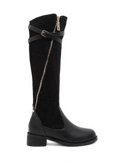Cross Straps Buckle Splicing Boots - Black 37
