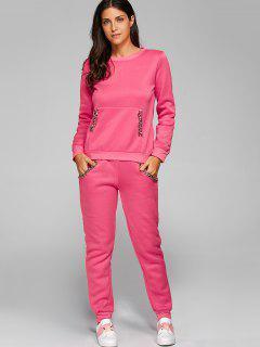 Chain Embellished Sweatshirt + Pants - Deep Pink S