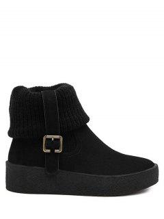 Knitting Buckle Platform Snow Boots - Black 38